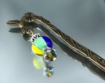 humming bird book marker, lampwork book mark, book worm accessory, bookmark metal, multi colored glass bead, bronze bookmark, page marker