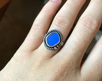 Cobalt Blue Sea Glass Ring; 925 Sterling Silver size 5 1/2; Boho