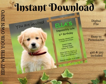 Puppy Birthday Party Invitation Editable Instant Download