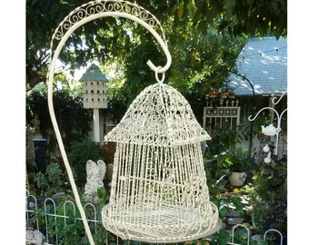 Vintage White Shabby Chic Ornate Curly Twisted Metal Bird Cage On Stand - Spanish Revival Curled Metal Birdcage