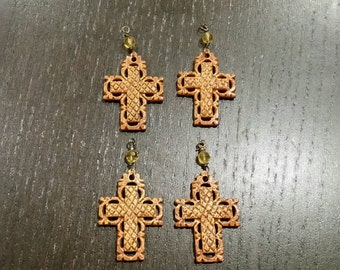 SALE !!! Antiqued Bone Carved Cross Pendants ... 4ct.