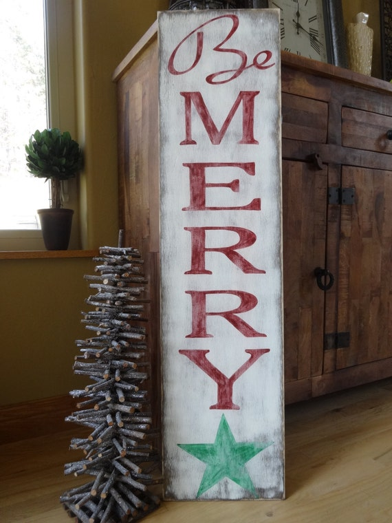 Be merry christmas sign hand painted wood