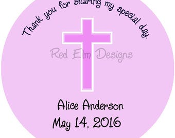 "Baptism Stickers, Baby Shower Stickers, First Communion Stickers - Sheet of 20 - 2"" round.  Girl Party Favors.  2 Inch Round"
