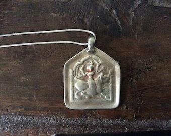 Silver Amulet Goddess Durga India Large Amulet Patri Amulet on Silver Chain