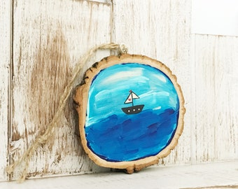Sailboat in the Ocean Ornament, Home Decor, Home Gift, Tree Slice, Birch Wood