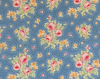 Tilda Circus Fabric  - First Kiss Blue Floral, Vintage, Shabby Chic