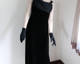 Black Velvet Formal Gown by Reitmans Size 11 Sheer Back Bodice Drape 1990s Evening Dress Sleeveless
