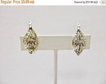 ON SALE Vintage Sparkling Rhinestone Leaf Earrings Item K # 1436