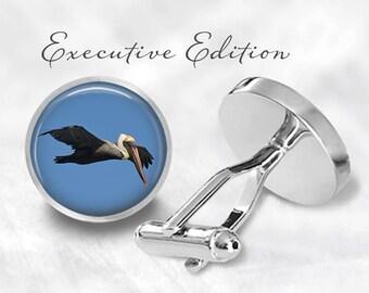 Pelican Cufflinks - Pelican Bird Cuff Links - Pelicans Cufflink (Pair) Lifetime Guarantee (S1423)