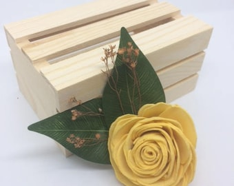 Sola wood flower-magnet-yellow