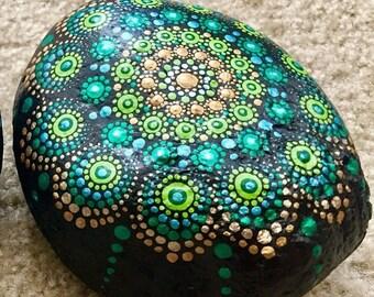 MomsDay Green-Gold Mandala Rock