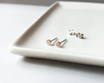 Tiny 14k solid gold dots studs with silver posts - Teeny tiny sterling rose gold circle studs earrings - minimalist jewelry - everyday wear