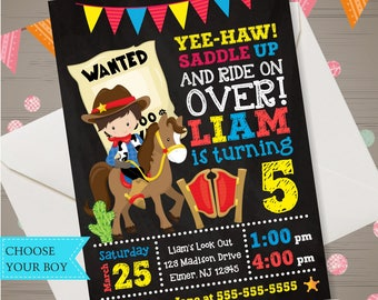 COWBOY Birthday Invitation Cowboy Invitation Cowboy Birthday Party Wanted Birthday Party Boy Western Invitation Boy Western Party Invitation