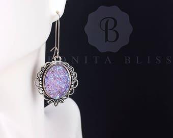 Light Purple Ornate Oval Druzy Earrings, Faux Druzy Earrings, Bridesmaid Gift Druzy, Silver Druzy Earrings, Oval Drusy
