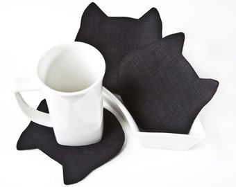 Linen Black Coasters, Christmas Gifts for Mom, Black Kitchen Decor, Cat Coasters, Housewarming Gifts, Cat Lover Gift, Kitchen Organization