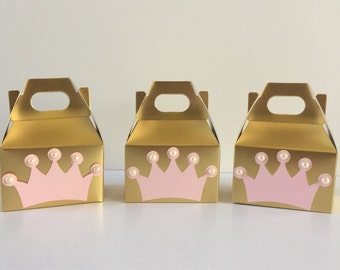 Princess party decor, Princess party favor boxes, birthday party favors, pink and gold party, party favor boxes,Princess birthday