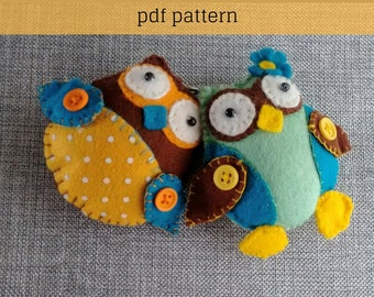 Felt Pattern-Felt Owls-Owl sewing pattern-Decor-Felt PDF Pattern-Owl Pattern-2 Owls-Owl ornament