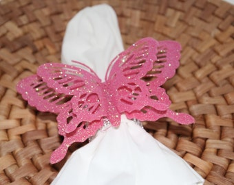 Butterflies Pink Glittered Napkin Rings Set of 8