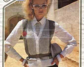 Lady's Waistcoat DK 32-38in Wendy 2159 Vintage Knitting Pattern PDF instant download