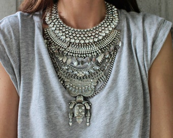 LAST ONE! CLOSING sale! Statement Necklace - Handcrafted: Judah. Silver & clear crystal layered ethnic bohemian necklace