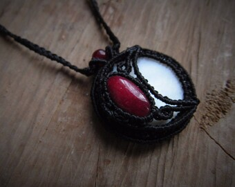 Macrame necklace. Macrame stone pendant. Micromacrame necklace. Gemstone healing jewelry. Long pendant. pendant moon