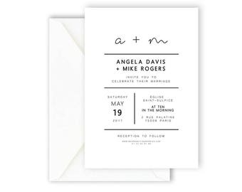 Printable Wedding Invitation, Wedding Announcement, Simple Invite, Modern & Minimal Wedding Stationary [01]