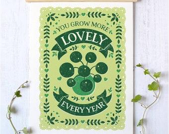 House Plant Print | Botanical Print | Birthday Plant Gift | Gardening Gift | Pilea Plant Print | Anniversary Gift | Anniversary House Plant
