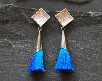 Boho Chic Earrings, Blue tassel earrings, Textured silver post earrings, Tassel Jewelry, Bohemian jewelry for women, 1142-9