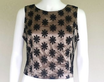 90s black mesh floral lace /beige satin sleeveless top  Buttons in back  Sz large/xl
