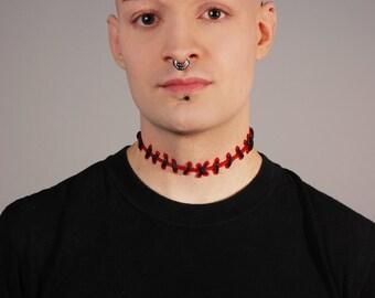 Frankenstein Zombie Brite Red Blood  with Black  Stitches Choker -thin stitch