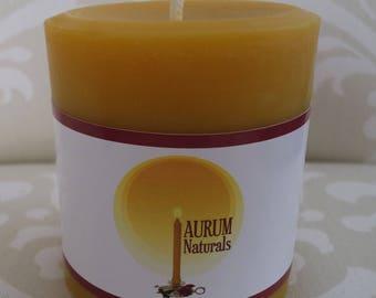 "Handmade 100% Beeswax Candle - 3"" wide x 3"" tall pillar"