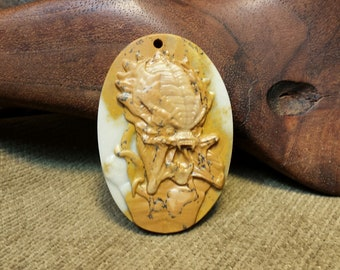 NEW ~ OOAK Predator Alien Carved in Large Natural Brown Spotted Ribbon Jasper Oval
