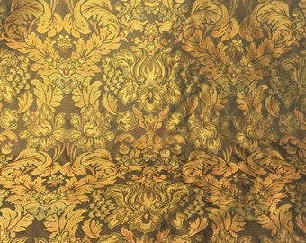 Bronze Fabric  Floral Tapestry and Leaf Tapestry Old World Tapestry - Cotton Woven Floral - Renaissance Fabric - 1 yard