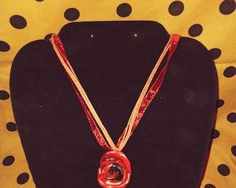 SALE Beautiful Red & Black rose Necklace
