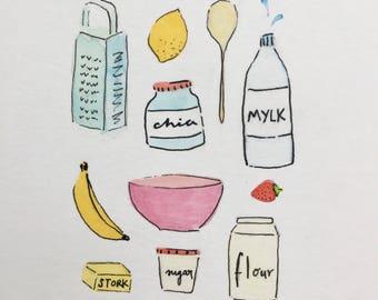 Vegan Baking - Original mixed media watercolour, ink pens and inks - Vegan Art - Vegan Illustration