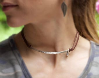 sterling silver & leather choker necklace for a free spirit or bohemian ~ personalized with your custom stamped message