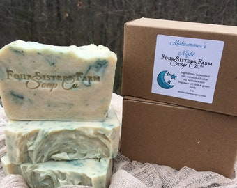 Wedding Soap Favors - 25 Favors - Midsummer's Night Scent - Blue Green Colors - Stars and Moon Theme