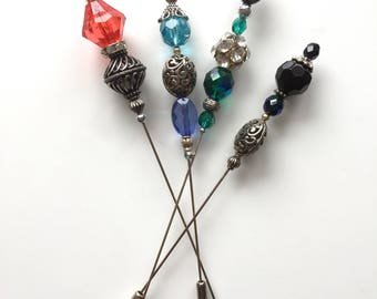 "BEADED HATPIN FILIGREE Choice of 4 colours 5"" or 6"""