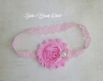 Pink headband. Lace headband. Infant headbands. Newborn headband. Lace headband baby. Preemie headbands. Infant lace headband. Pink flower