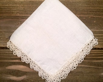 Vintage (1920's) White Tatted Handkerchief