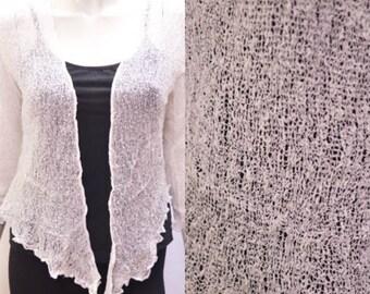 Boho chic crochet style knit shrug cardigan White onesize 10 12 14 16 18 20