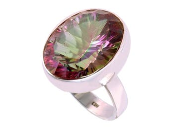 Mystic quartz 92.5 sterling silver ring size 8 us
