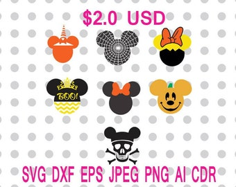 Halloween Mickey Minnie Ears Minnie Bow Svg Dxf Eps Png Jpg Cdr Ai Cut Vector File Silhouette Cameo Cricut Design Vinyl Decal