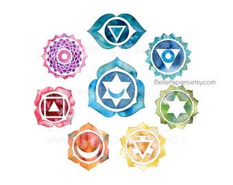 Chakras, Namaste Gifts, Yoga Wall Art, Chakra Wall Decor, Chakras, Ajna, Anahata, Muladhara, Manipura, Sahasrara, Svadhishthana, Vishuddha
