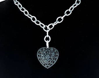 Celluloid Heart Pendant Necklace