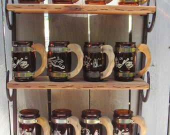 Siesta ware beer mugs, cowboy beer mugs, horse shoe shelf, 1960s glass wood beer steins, 12 bar ware mugs & shelf, country farmhouse decor,