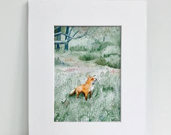 Fox Watercolor Art Print, Print, Watercolor Print