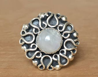 Moonstone and Sterling Silver Ring, Moonstone Ring, Boho Ring, Celtic Ring, Detailed Moonstone Ring, Healing Crystals, Crystal Ring
