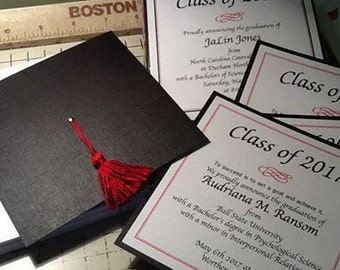 Graduation Cap Invitation or Announcement - Highschool,  College - 2018 Grad - Graduation Party Invite