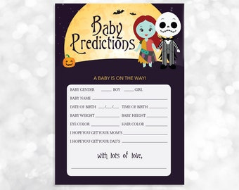 Nightmare Before Christmas Baby Prediction Card Printable   Baby Shower    Instant Download   023